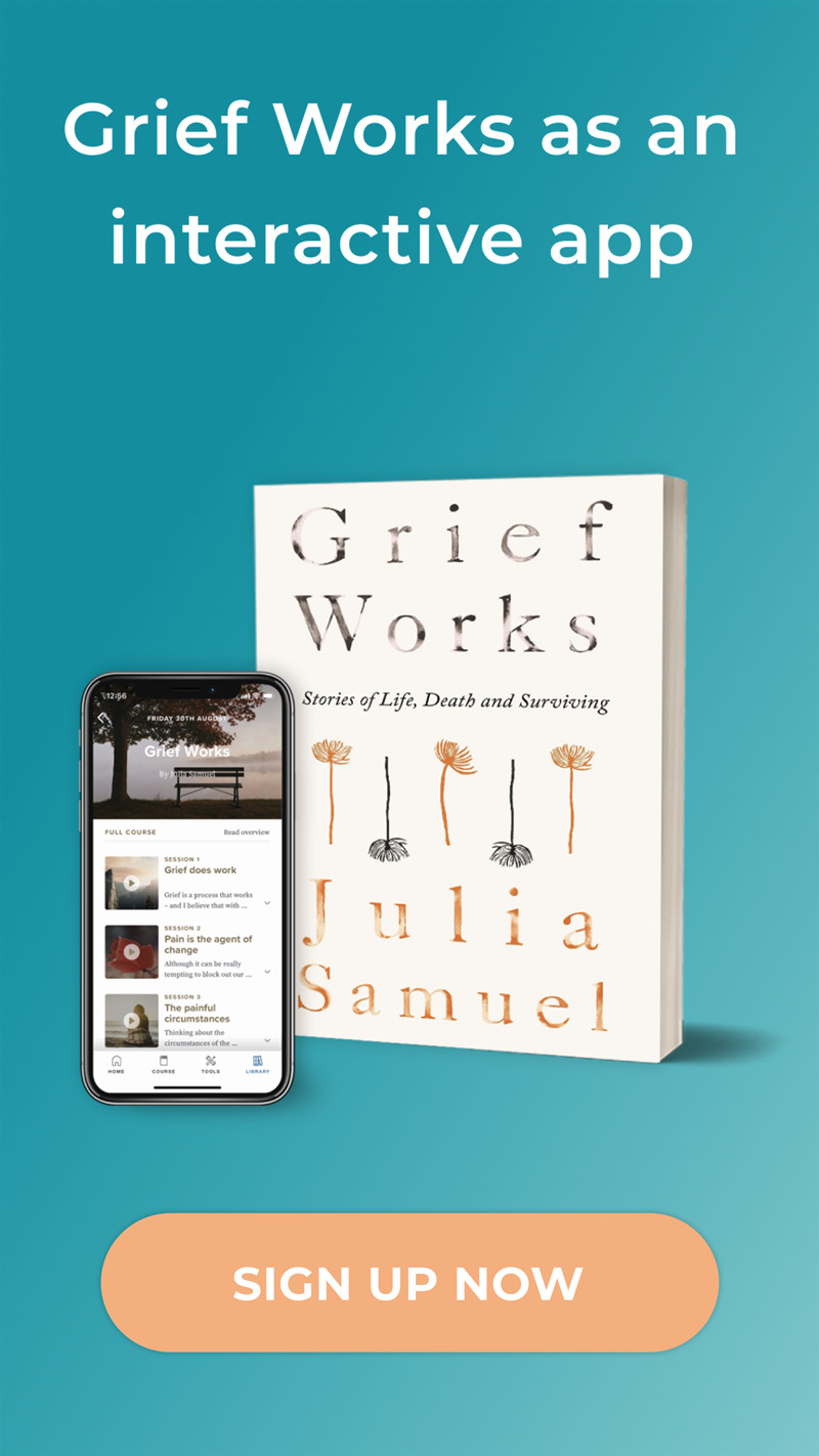 Grief works app promo with text 2