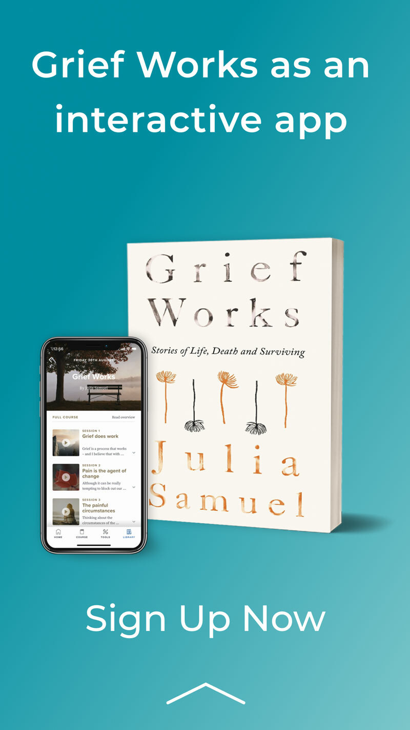 Grief works app promo with text